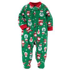 boy s santa snowmen fleece footed pajamas