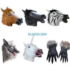 horse halloween party horse unicorn zebra wolf head latex mask halloween party cosplay