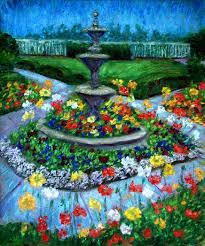 poppy garden and fountain
