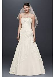 wedding dresses david s bridal a line lace wedding dress with side split detail david s bridal