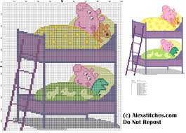 Cartoon Bunk Bed by Peppa Pig George And Sleep In Bunk Bed Cross Stitch Pattern Free