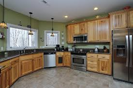 Hickory Kitchen Cabinets Adorable Brown Color Hickory Kitchen Cabinets Featuring Black