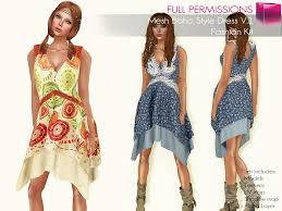 boho fashion second marketplace perm rigged mesh boho style dress v