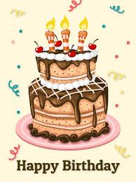 chocolate and cherry birthday cake card birthday greeting