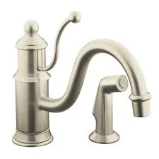 stainless steel kohler fairfax kitchen faucet wide spread two