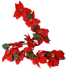 6 foot gold tipped poinsettia garland with 36 led lights