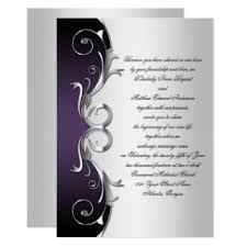 black purple silver wedding invitations announcements zazzle co uk