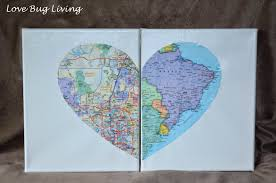 Heart Map Love Bug Living Hometown Heart Map Canvas