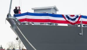 Flag Folded Into Triangle Welcome To The Fleet New Uss Little Rock Commissioned Into