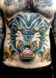belly panther tattoo by the sailors grave