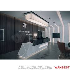 Spa Reception Desk Luxury Artificial Marble Led Company Spa Lobby Reception Desk