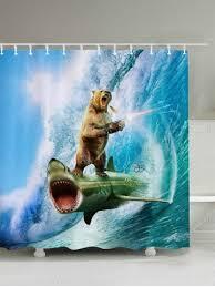 Animal Shower Curtains Blue W71 Inch L79 Inch 3d Shark Firing Print Shower Curtain