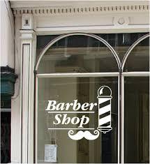 barber shop sign vinyl window sticker pole moustache hair wall art barber shop window quote wall art sticker vinyl decal