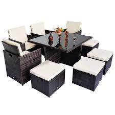 Wicker Patio Furniture Ebay 9pc Rattan Garden Furniture Aluminium Outdoor Patio Set Cube Weave