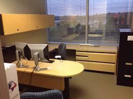 overhead storage cabinets office herman miller blonde u shaped wood desk set with box file 2 drawer