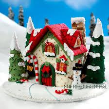 3d Home Design Kit Mary U0027s Snow Cottage Bucilla Felt Christmas 3d Centerpiece Kit