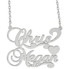 sterling silver personalized necklace images Sterling silver personalized couples nameplate pendant