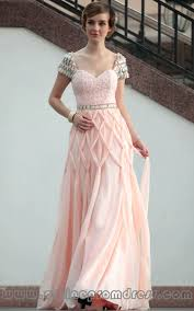 in stock sweetheart cap sleeve beaded chiffon coral prom gowns on