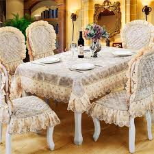 luxury high end european dining tablecloth chair cover set big