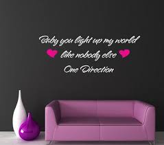 One Direction Sofa Bed One Direction Baby You Light Up My World Wall Art Quote Sticker