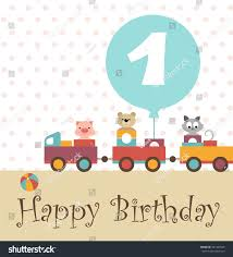 greeting card happy birthday colorful train stock vector 381499525