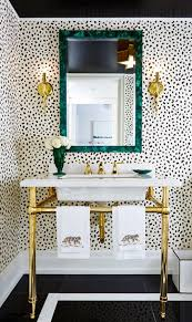 Black Powder Rooms A Patterned Powder Room Gold Faucet Green Mirrors And White