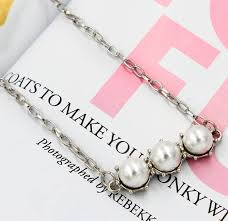 wholesale pearls necklace images Korean long silver horizontal white pearls pendant necklace jpg