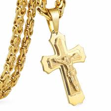 cross jesus necklace images Multilayer cross christ jesus pendant necklace stainless steel jpg