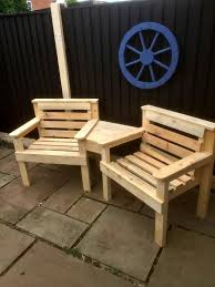 Diy Wood Pallet Outdoor Furniture by Wood Pallet Outdoor Chair And Sofa 101 Pallets