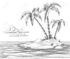 drawn palm tree island pencil and in color drawn palm tree island