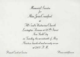 Funeral Service Invitation Joan Crawford Encyclopedia M