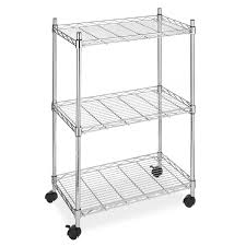 category 3 shelf chrome steel storage cart on wheels
