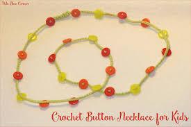 pale blue corner crochet button necklace for kids