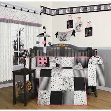 Pink And Black Crib Bedding Sets Geenny Black And White Flower Dots 13 Crib Bedding Set