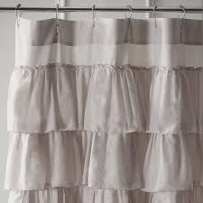 Gray Shower Curtains Fabric Curtain Linen Shower Curtain With Ruffle Gray Ruffle Shower