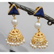 jhumki earring blue onyx pearl jhumki earrings