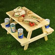 miniature picnic bench platter for cakes and sandwiches