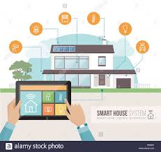smart house system control and mobile app on a tablet