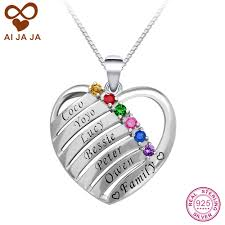 custom engraved heart necklace aijaja personalised 925 sterling silver birthstones engraved names