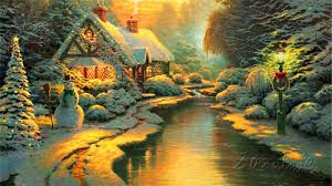 kinkade paintings lights winter kinkade