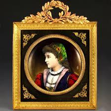 Gilt Bonze Enameled Portrait Antique Limoges Enamel On Copper Miniature Portrait Plaque