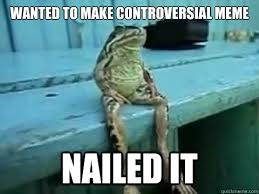 Controversial Memes - wanted to make controversial meme nailed it sitting frog quickmeme