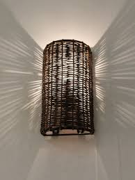 Wicker Light Fixture by Single Wicker Wall Light