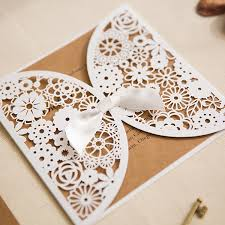 vintage rustic laser cut wedding invites with matching enclosure