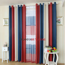 casual style navy and red stripe curtain panels thermal curtains