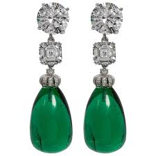 emerald earrings amazing faux diamond large cabochon emerald drop earrings at 1stdibs