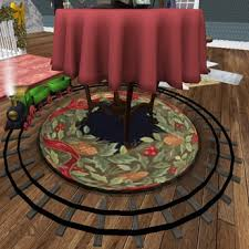 second life marketplace round wool victorian christmas rug mesh