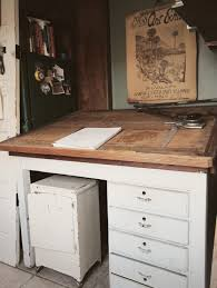 Antique Drafting Table Craigslist Furniture White Painted Antique Drafting Table With Drawers