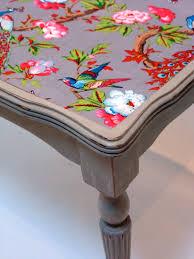 beautiful fabric decoupaged onto table surface upcycled coffee