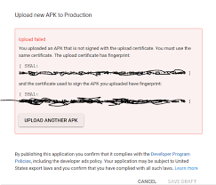 the apk android after play app signing getting error while
